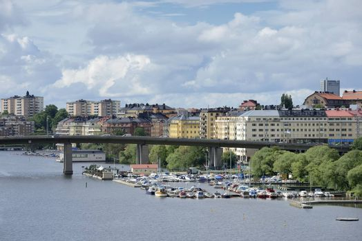 Stockholm embankment with boat.
