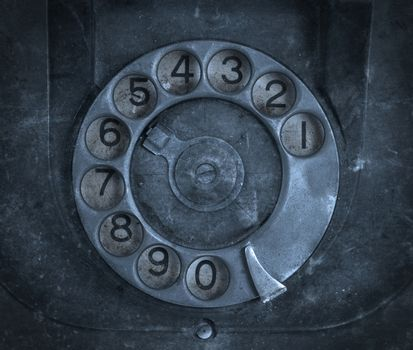 Closeup of vintage telephone dial