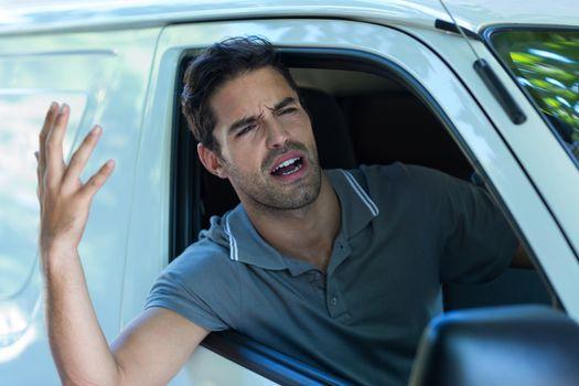 Irritated man gesturing
