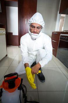 Manual worker wearing gloves