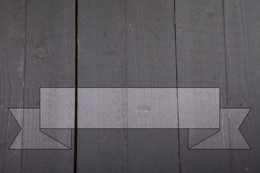 Gray banner on dark black wooden background