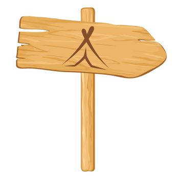 camping. Vector wooden pointer