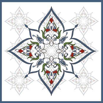 Ottoman Tile Art  One Main element With nine colour little eleme