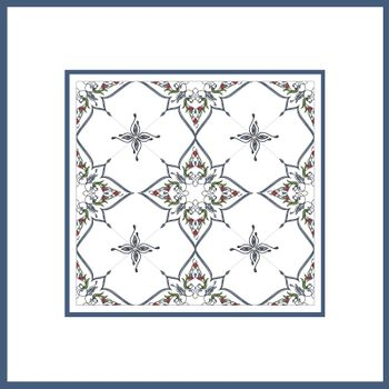 Ottoman Tile Art With  Islamic Elements square with colour