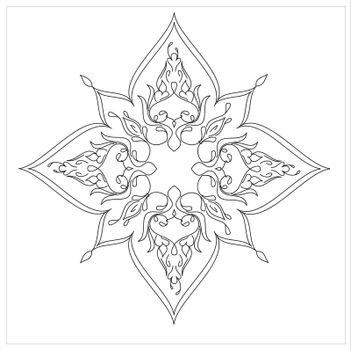 Ottoman Tile Art With  Islamic Elements square without colour