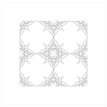 Ottoman Tile Art With  Islamic Elements without colour square