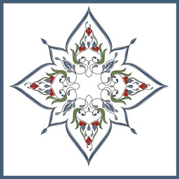 Ottoman Tile Art With  One Main Islamic Element