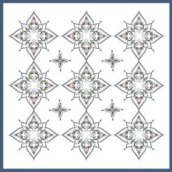 Ottoman Tile Art With  Nine Islamic elements with colour