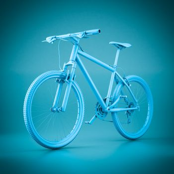 3D rendering mountain bike on a blue background