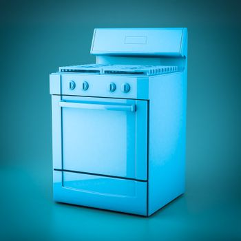3D rendering household appliances on a blue background