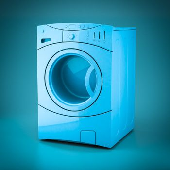 3D rendering washing machine on a blue background
