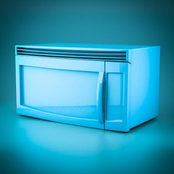 3D rendering microwave oven on a blue background
