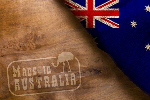 Made in Australia. The national flag of Australia stylized sackcloth.