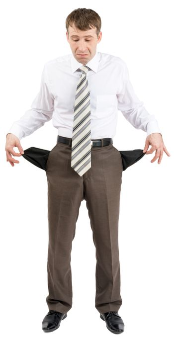 Businessman turned out his pockets