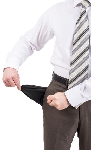 Businessman turned out his pocket