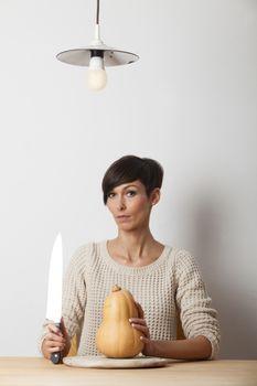 woman with a pumpkin