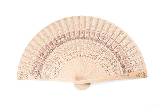 Wooden carve folding fan,chinese style hand fan , on white background.