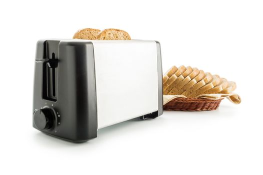 Toaster with bread slices