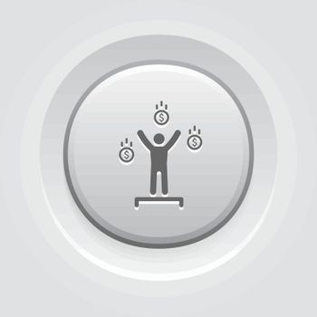 Financial Independence Icon. Business Concept. Grey Button Design