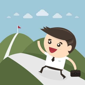Businessman climbing on the mountain, commitment concept