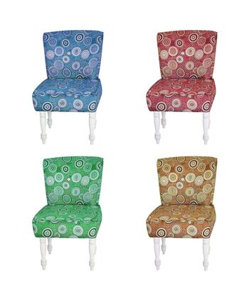 vintage fabric chair collection isolated on white.