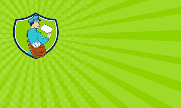 Business card Mailman Deliver Letter Crest Cartoon