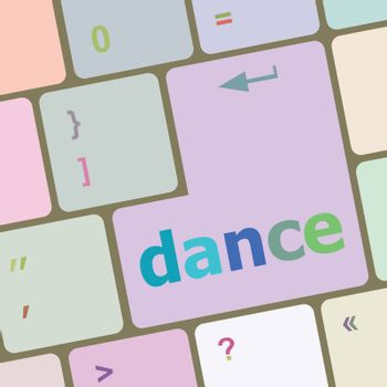 dance button on computer pc keyboard key vector illustration