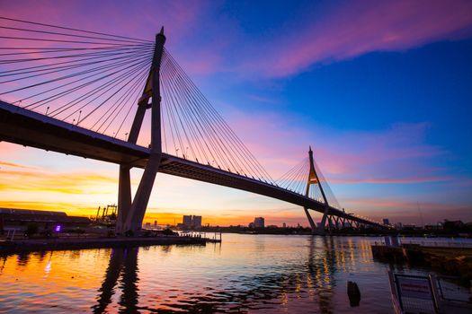 Sunset Bhumibol 1 Bridge.