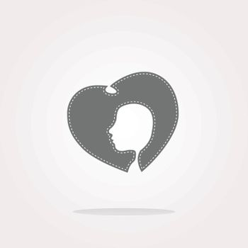 vector icon with heart and woman head. Web Icon Art. Graphic Icon Drawing