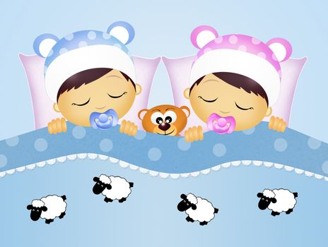 illustration of babies counting sheeps