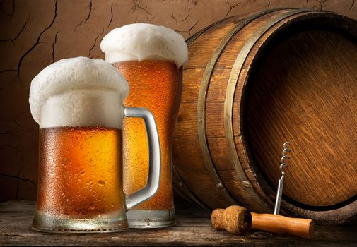 Cold beer and barrel