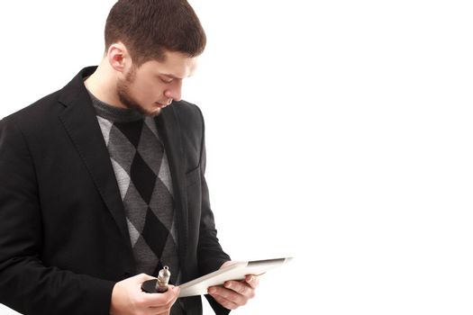 Casual businessman using his tablet and e-cigarette isolated on white