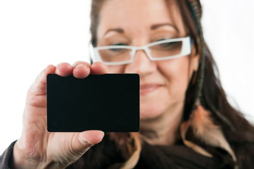 Woman Showing Blank Credit Card