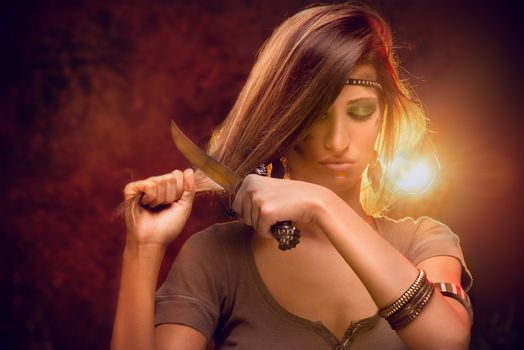 Woman Cutting Hair With Combat Knife