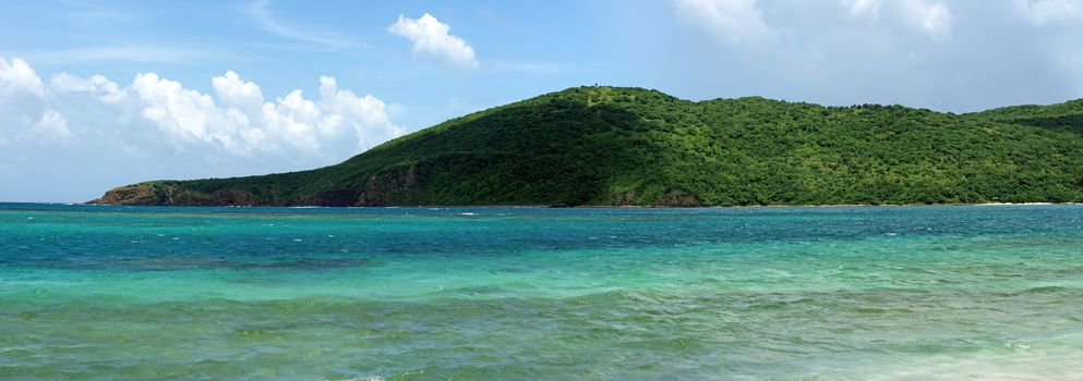 Panoramic view of the gorgeous white sand filled Flamenco beach on the Puerto Rican island of Culebra.