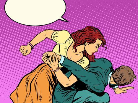 Woman beats man in fight
