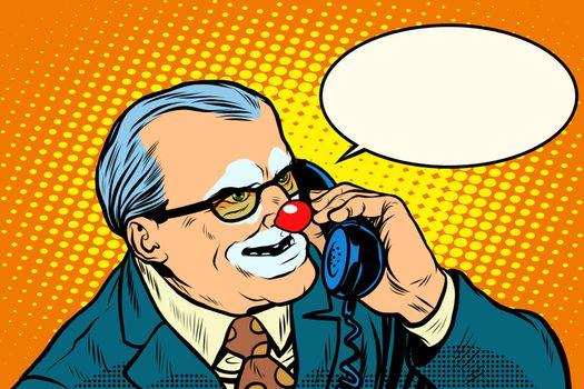 boss clown on the phone