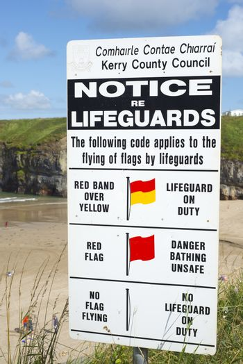 lifeguards notice at ballybunion beach in county kerry ireland on the wild atlantic way