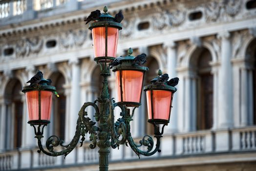 Lamp on Piazza San Marco (Saint Mark square) in Venice
