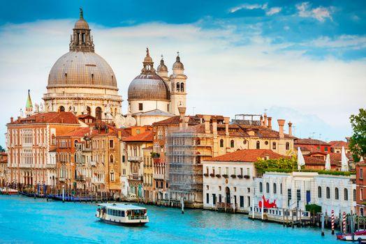 Grand Canal and Basilica Santa Maria della Salute in sunny day. Venice, Italy