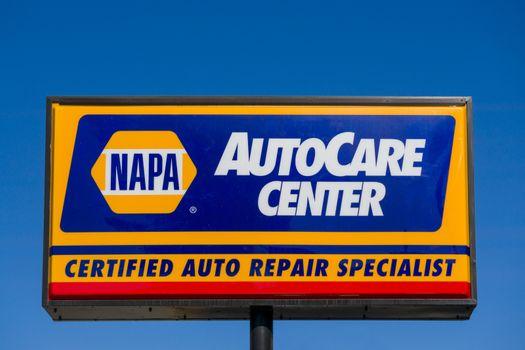 PASADENA, CA/USA - APRIL 16, 2016: Napa Auto Care sign and logo. NAPA is an auto parts company in the United States.