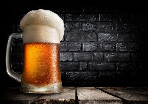 Beer and brick wall