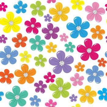 Floral seamless background with colorful flowers