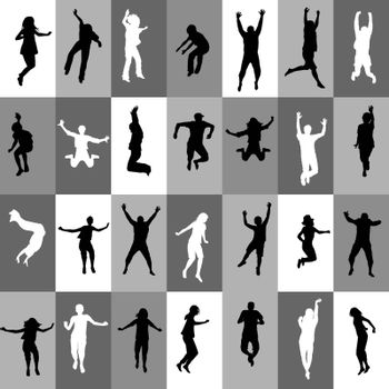 Retro background in squares with people silhouettes jumping