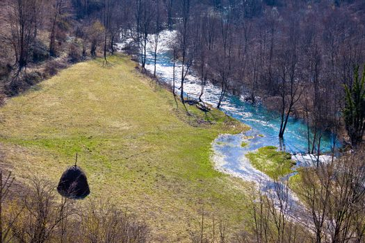 Koran river valley and meadow aerial view