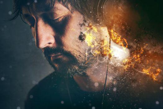 DJ on fire, man with burning headphones