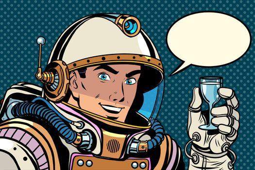 Cosmonaut toast celebration pop art retro style. Holiday. Day of cosmonautics. Astronaut retro birthday