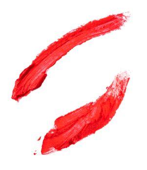 Smear red lipstick