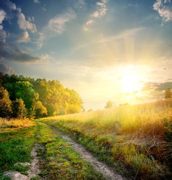 Sunbeams and country road