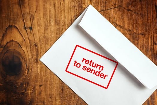 Return to sender stamp on envelope